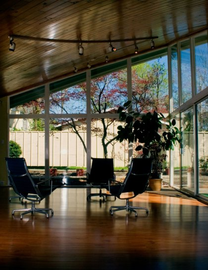 Paraboloid House living room