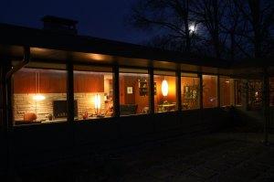 Southern-facing windows at dusk