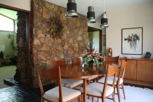 Dining room with view of hearth