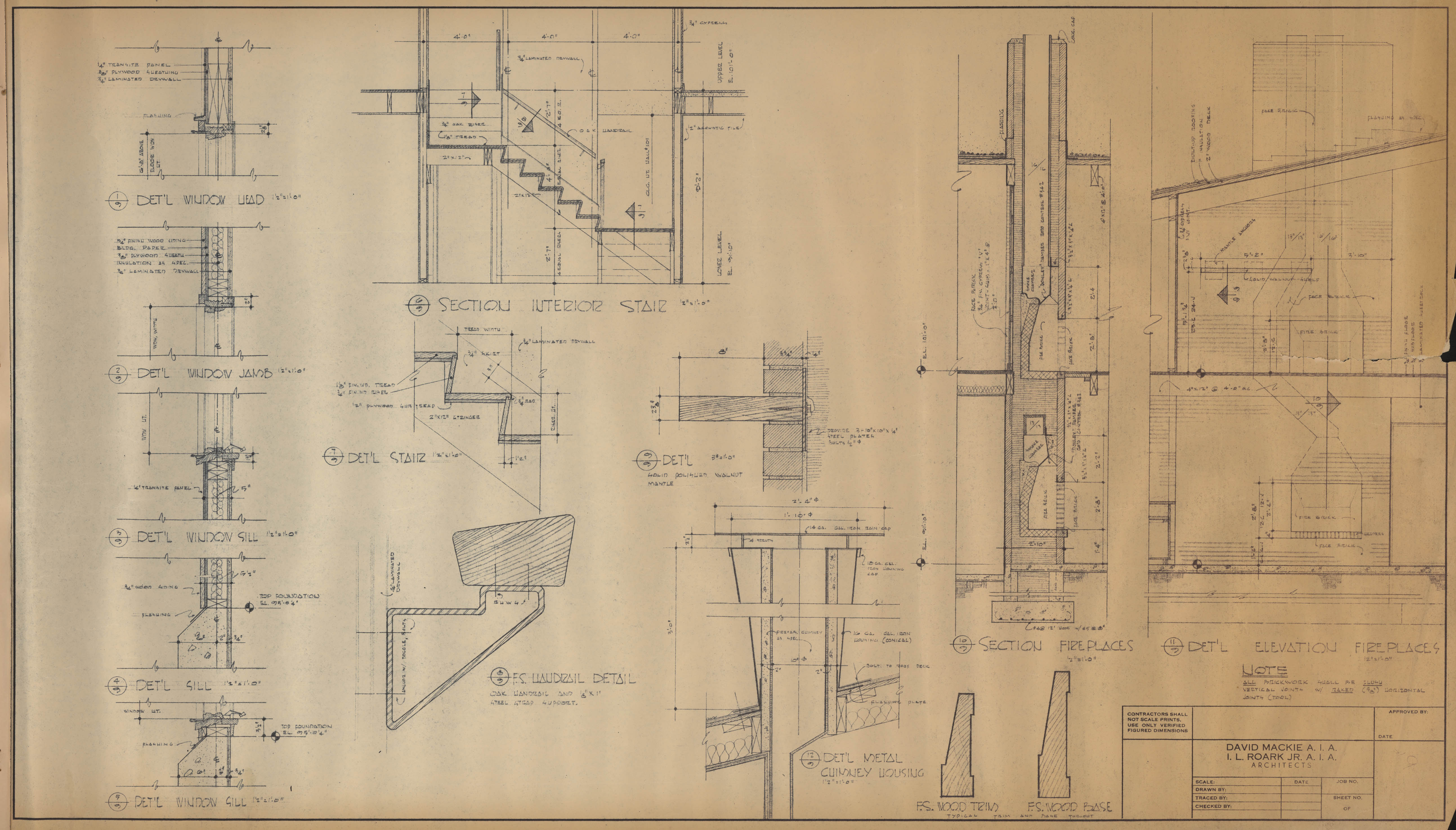 Architectural Drawings Click Images To Expand Lawrence Modern Home And Diagram Window Stair Details Fireplace Section