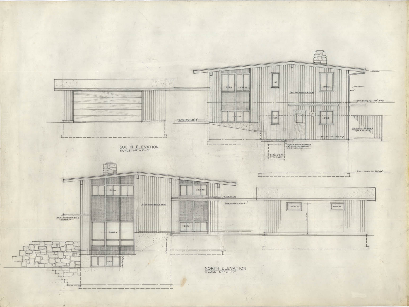 architectural drawings. South-north Elevations Architectural Drawings A