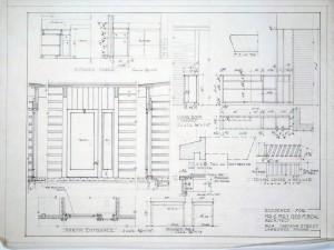 Living room cabinet, kitchen cases & north entrance details