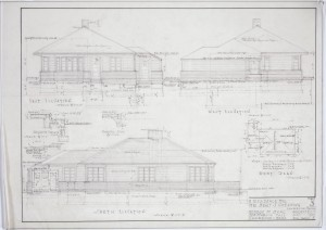 East-west-south elevations