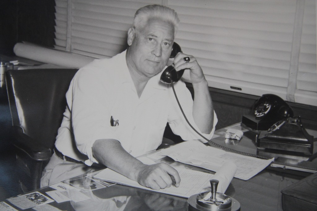 "John ""Church"" Sargent at his company office, sometime in the 1950s"