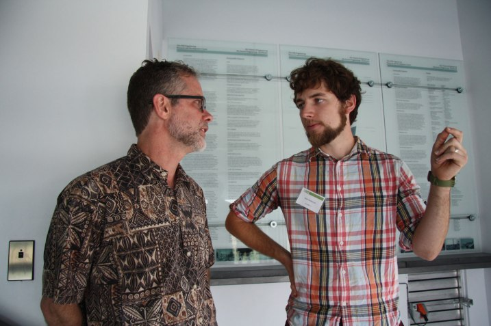 Tom Harper with Max Anderson, a former student in the Studio 804 class.