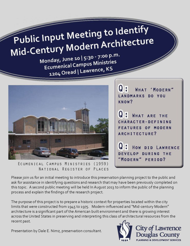 Public Meeting to Identify Mid-Century Modern Architecture in Lawrence, KS poster
