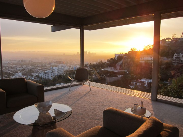 Living room view at sunset.