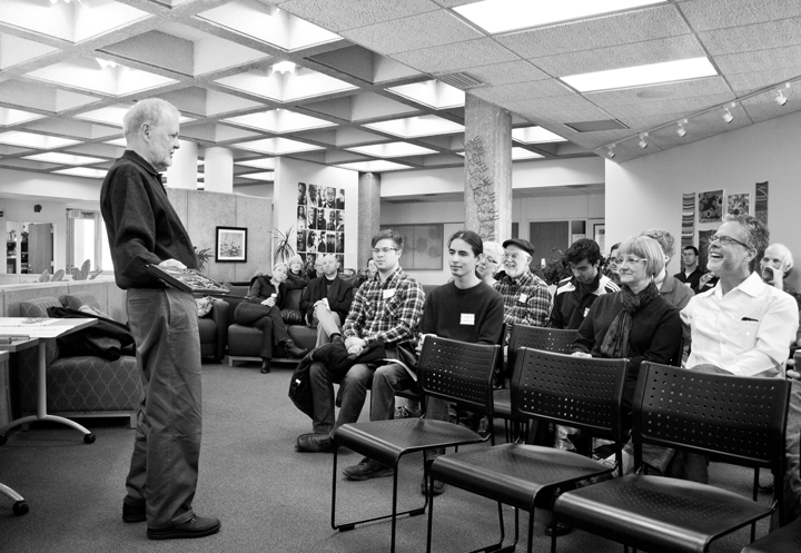 Architect Ron Labinsky talks to the Lawrence Modern group at the Nunemaker Center Feb. 23, 2014