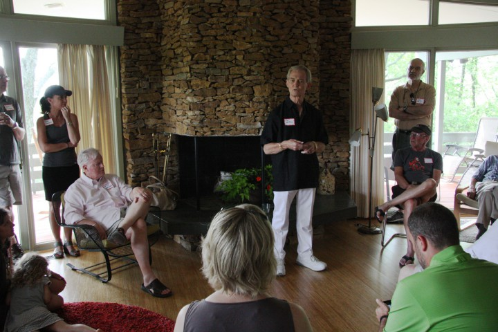 Architect Jim Williams speaks to the Lawrence Modern group Sunday, June 28, 2014.